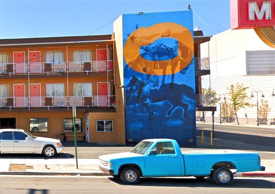 Blue mural - Horsehoe Motel, Reno