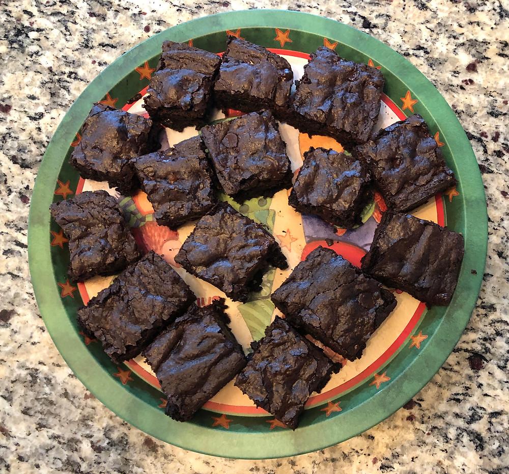 Plate of dark fudgy brownies