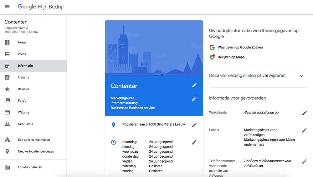 interne pagina Google My Bussiness