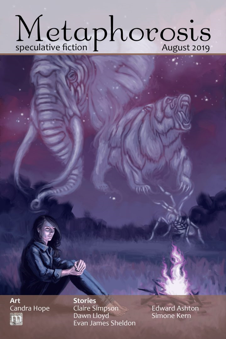 a person with long dark hair sits by a campfire; spectral figures of animals bloom in the stars overhead