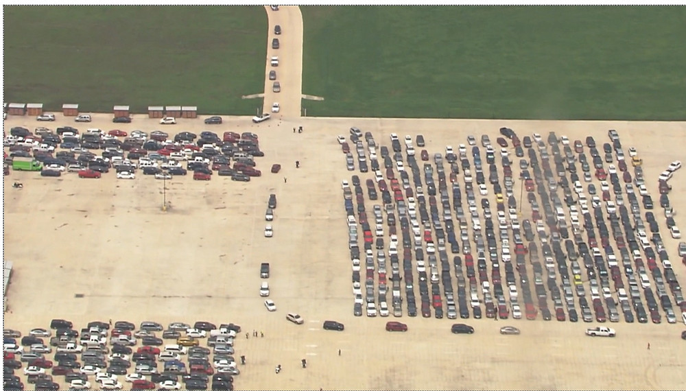 More than 10,000 cars lined up for hours for food assistance at San Antonio Texas foodbank.
