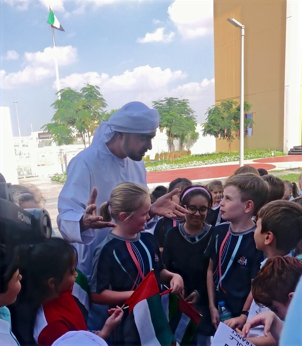 During the assembly, a video of DHA pupils together with Emirati presenter Haithem Al Hamadi singing the national anthem and explaining what the Year of Tolerance means to them and their school was showcased