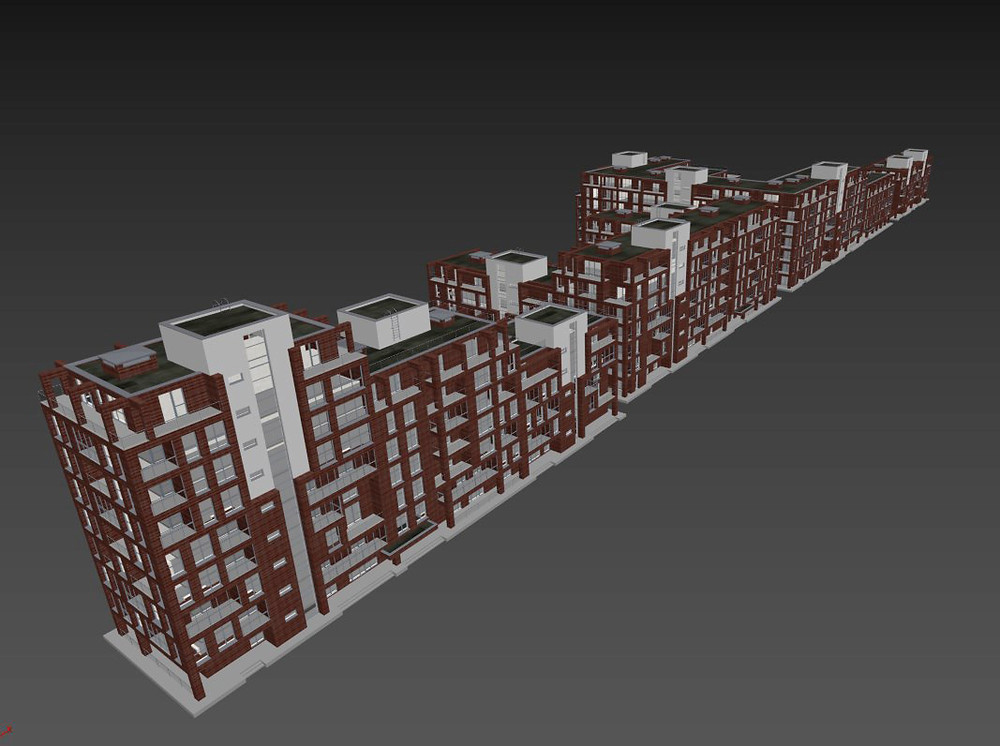 3DS Max screenshot of the model of the buildings
