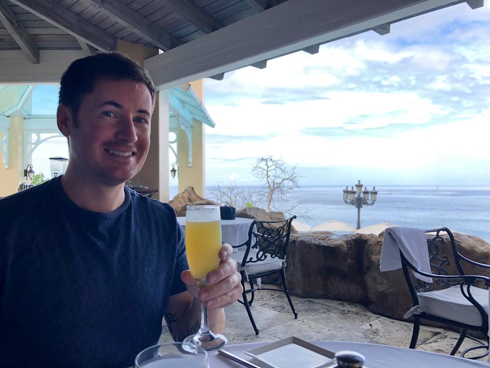 Wedding day brunch mimosas Sandals St Lucia La Toc