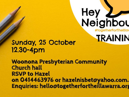 Join us for Training: 25th October 12:30-4pm