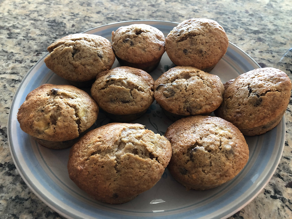 A plate of Banana Chocolate Chip Muffins