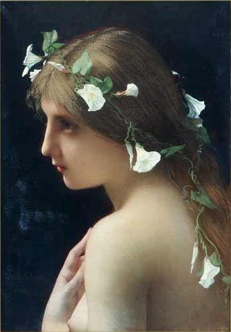 Nymph with Morning Glory Flowers, By Jules Lefebvre