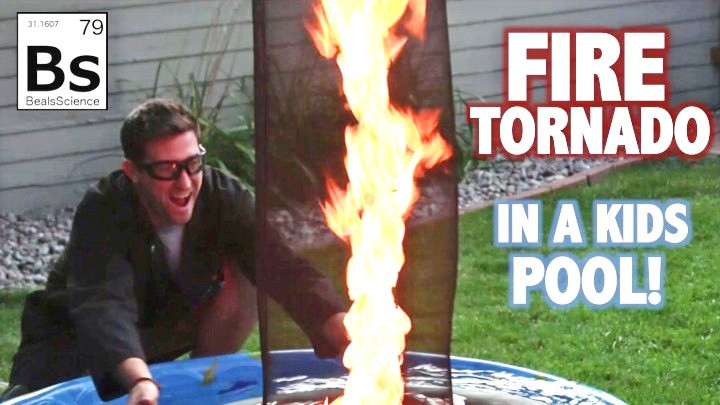 See how to make a fire whirl in a swimming pool
