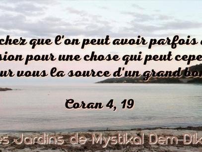 [Le verset du jour] Coran 4, 19 : Sachez que l'on peut avoir parfois de l'aversion pour une chose..
