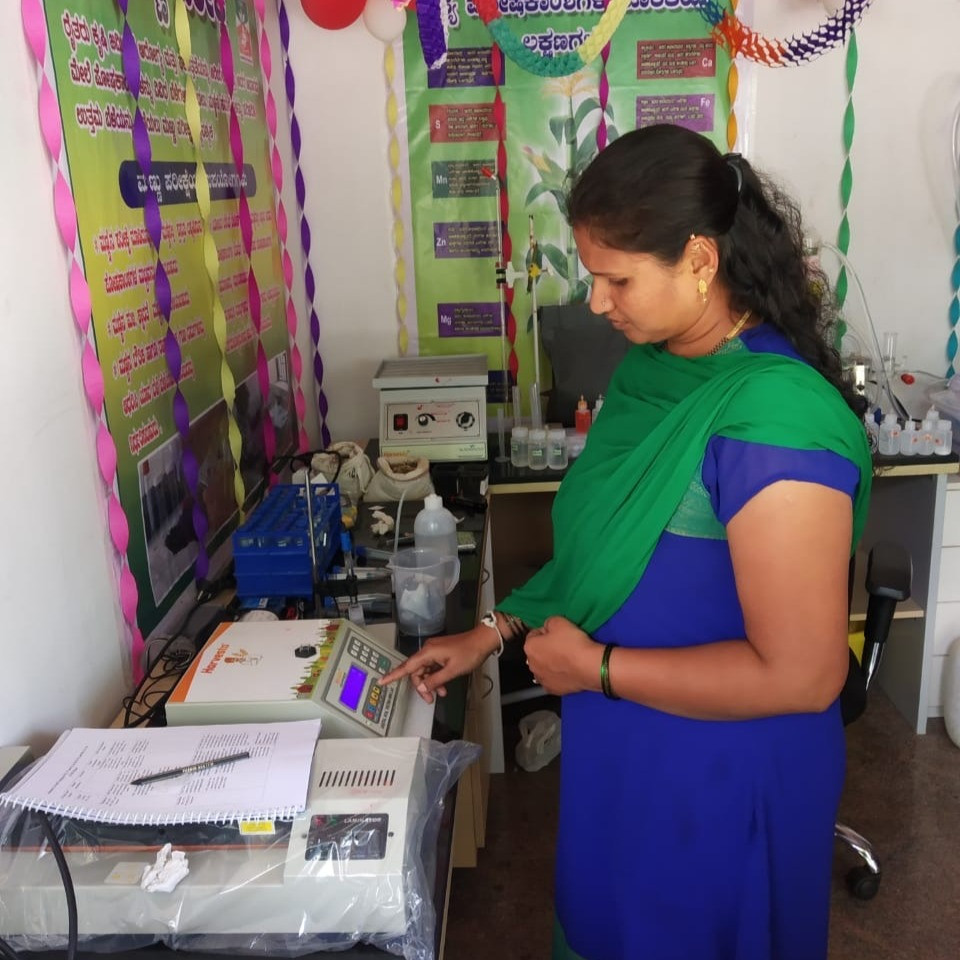 Image: Women entrepreneur running a successful soil testing lab with Harvesto in South India