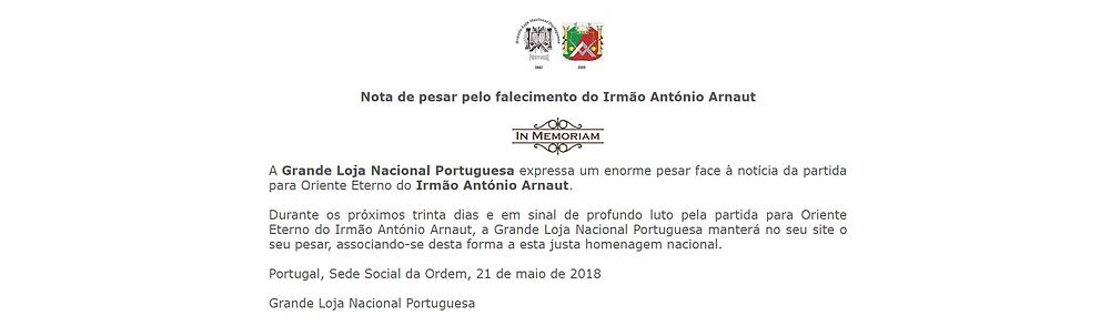 Nota de Pesar emitida pela Grande Loja Nacional Portuguesa   www.glantigos.org   Partida para Oriente Eterno do Irmão António Arnaut.