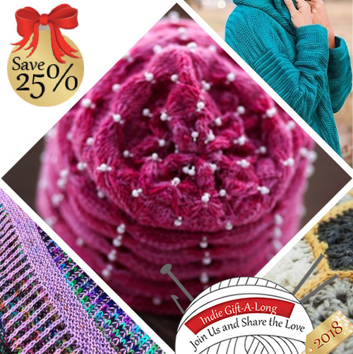 Logo for the 2018 Indie Designer Gift-a-Long Sale featuring 20 Knitting and Crochet Patterns by Shaina Scott (Aka: YumiYarns)