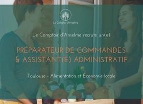 Le Comptoir d'Anselme recrute un préparateur de commandes & assistant administratif