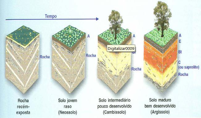 Figura 9: Ação do tempo, convertendo uma rocha sã em solo maduro.