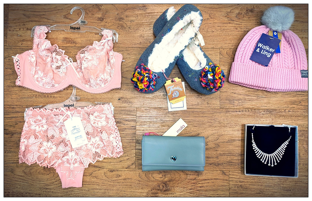Bra, slippers, purse, hat, necklace