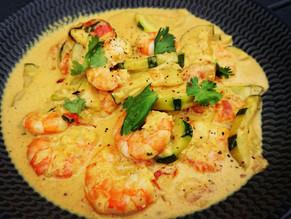 Recette facile et gourmande du Wok de crevettes et courgettes au curry et lait de coco