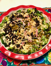 Charred Broccoli Chopped Salad with Spicy Cashew Dressing prepared by Linda