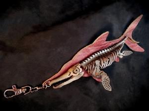 Leather, ichthyosaur, ichthyosaurus, fish lizard, fish, lizard, prehistoric, fish, paleo, paleoart, bagcharm, fossil, skeleton, leatherfossil, suede, sculpture, leathercraft, j.v. becker, artist, skelosaurz