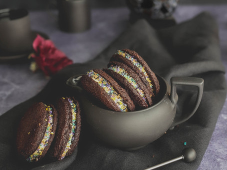 Chocolate Shortbread Cookie Sandwich with Chambord Buttercream and Spiked Blackberry Filling