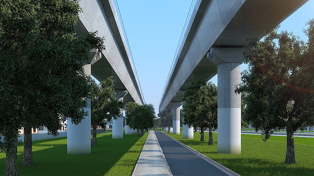 Photorealistic Exterior 3D Rendering for the elevated railway in Melbourne