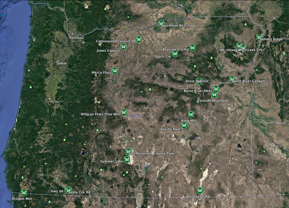Aerial photo of Oregon with butterfly sites marked