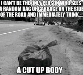 Bag of Garbage Side of Road Cut Up Body Meme