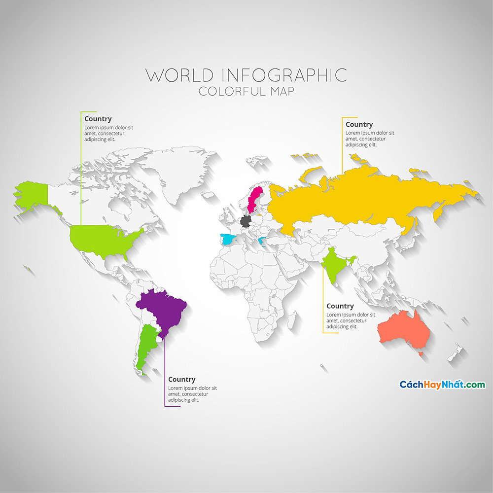 Bản Đồ Thế Giới colorful world map infographic