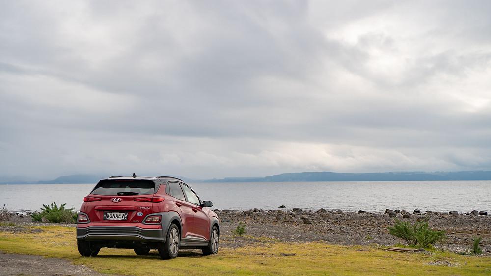 Hyundai Kona Electric 2019 rear red Lake Taupo New Zealand