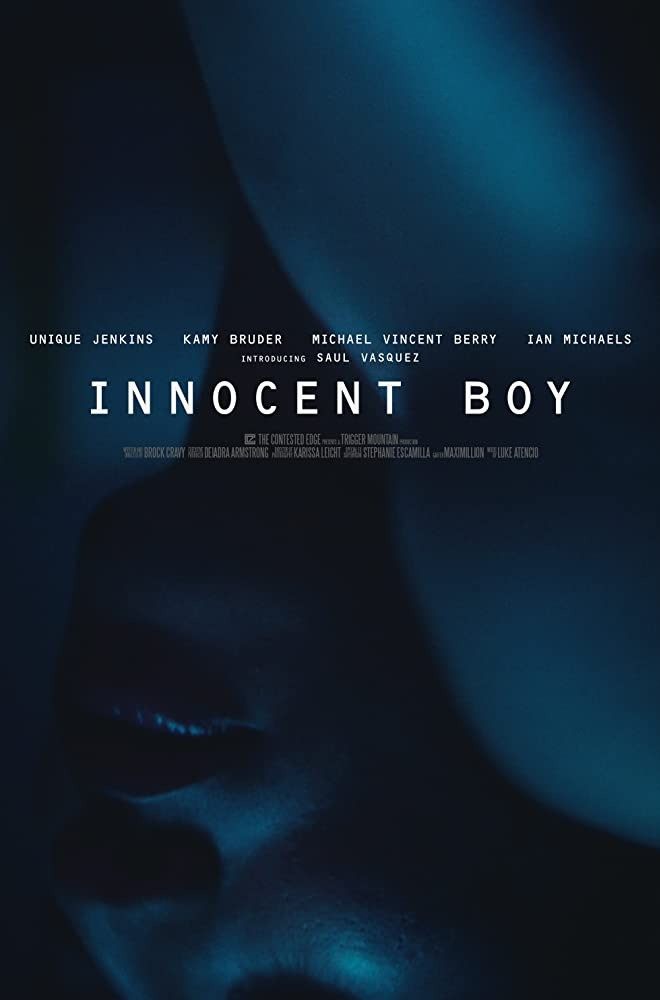 Innocent Boy movie poster featuring an upside down person in dark blue and a moody atmosphere.