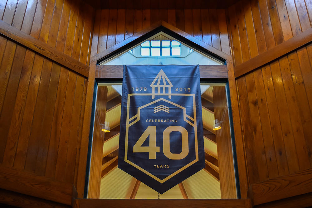 A banner hangs in celebration of Lane's End Farm's 40th Anniversary.
