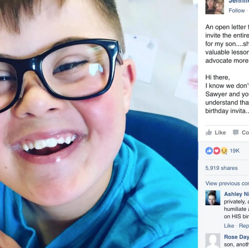 Mom's Letter to Parent Who Excluded Her Son with Down Syndrome from a Birthday Party