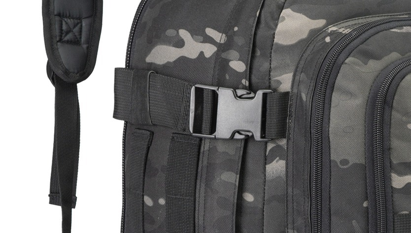 Tactical backpacks with side straps to compress and take weight of zippers