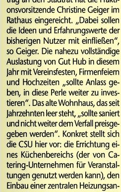 Das Gelbe Blatt: CSU will auf Gut Hub sanieren