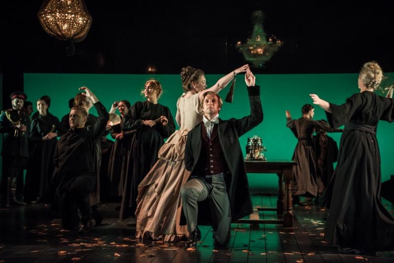 Angharad Lyddon (Olga) George Humphreys (Eugene Onegin)  in Buxton International Festival's new production of Tchaikovsky's opera  c. Genevieve Girling