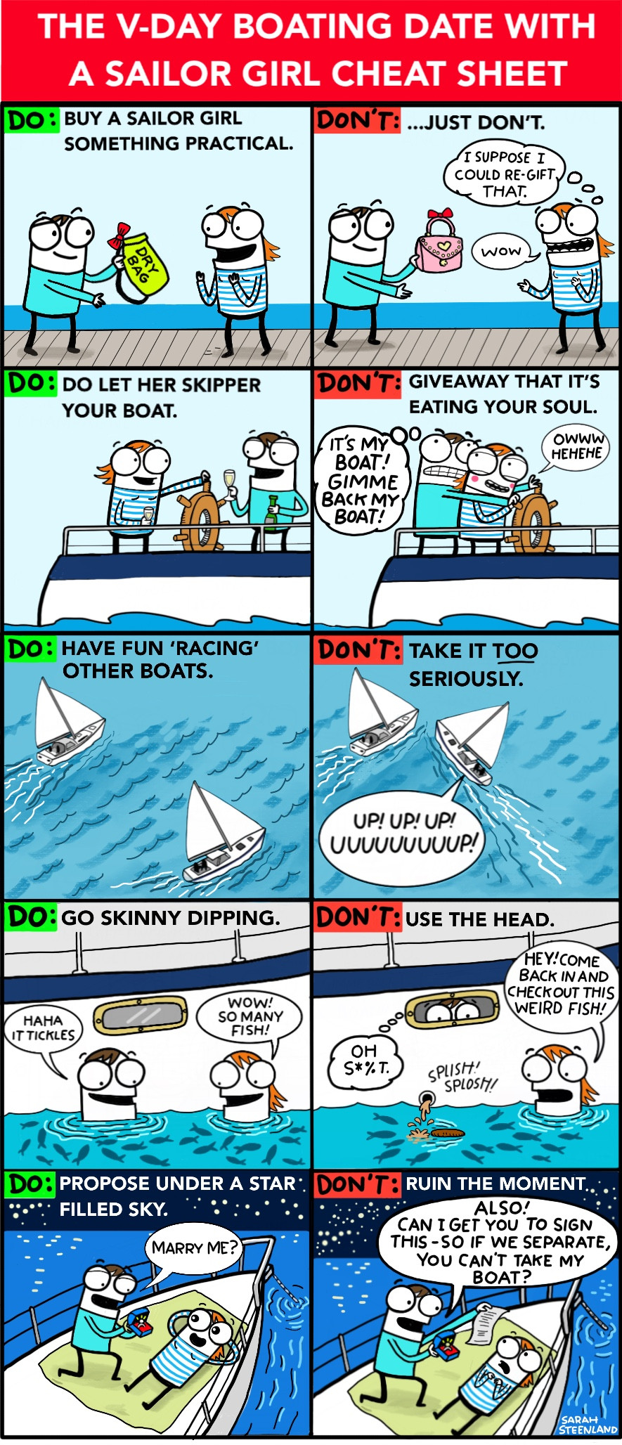 Valentine's Day Sailing Comic, Vday Sailing Comic, Cruising Comic, cruising cartoon, sailing cartoon, sailing comic, Sarah Steenland, cruising cartoonist, sailor girl, sailor girl cartoon, sailor girl comic, boating trip, boat date, romantic boating getaway,
