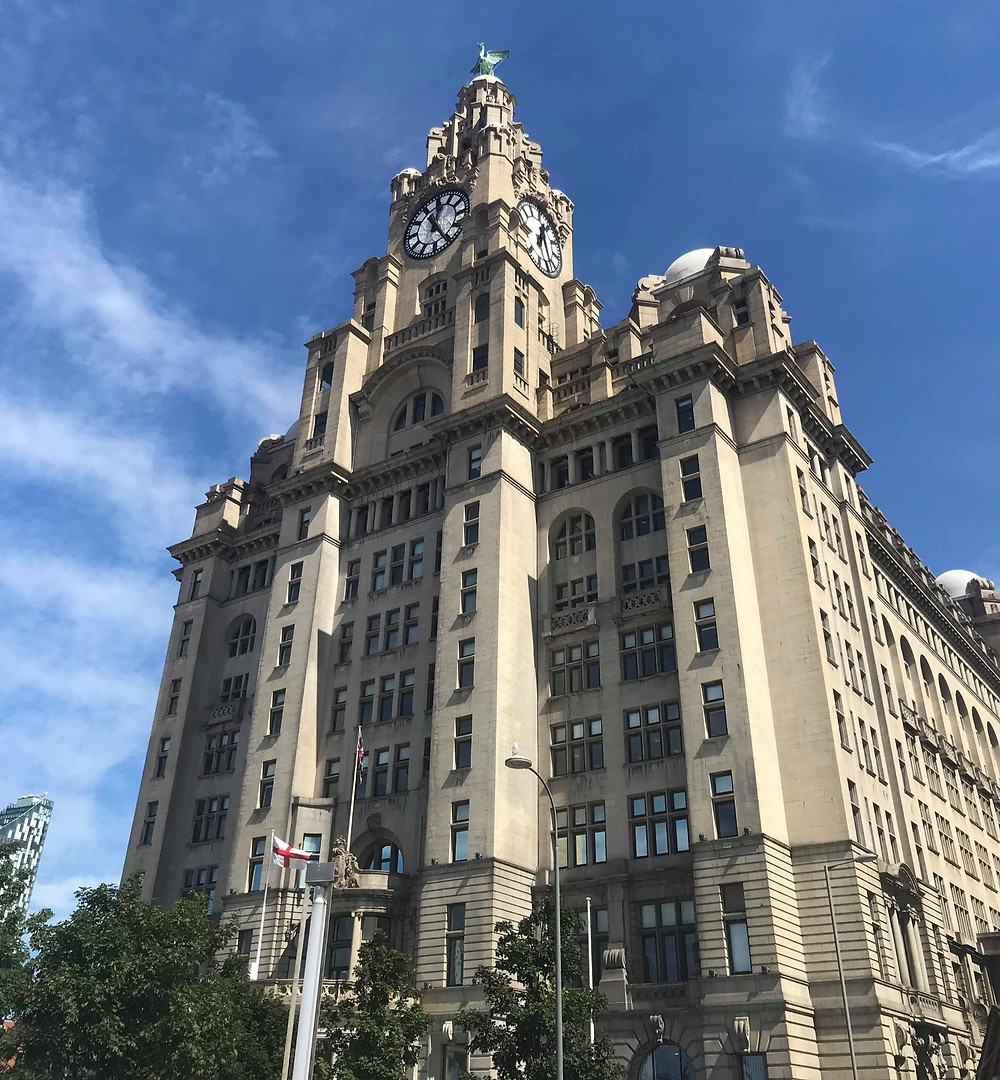 Royal Liver Building on a sunny day in Liverpool, England