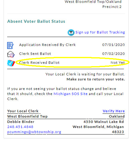 """a portion of the display from Ballot Power, showing """"Not Yet"""" for the status of """"Clerk Received Ballot"""""""