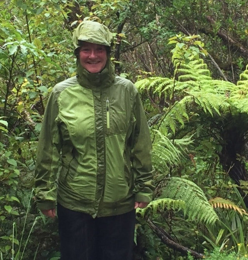 Women in rain jacket