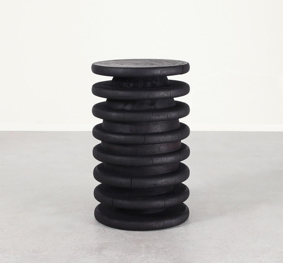 Black Stool, Black Side Table, Round Side Table, Round Stool, Wood Stool
