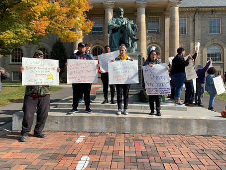 Cornell and other local community members stand in solidarity, challenging a continued series of all
