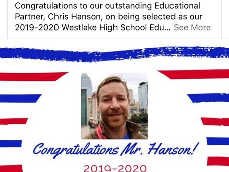 Chris Hanson Educator of the Year-Westlake High School