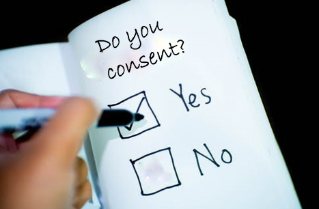 do you consent? with yes and no tick boxes, with a tick in the yes box