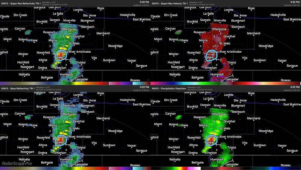 Radar scans at the time of the tornado reports. | Pictures from RadarScope