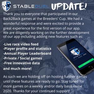 StableDuel horse racing fantasy app improvements for 2020