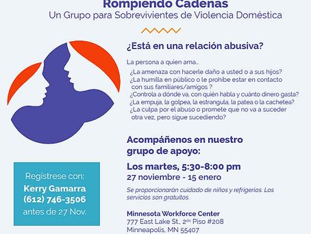 Un Grupo para Sobrevivientes de Violencia Domestica!