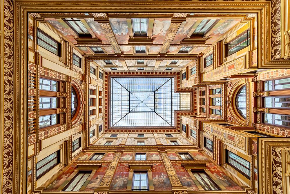 the courtyard of the Galleria Sciarra