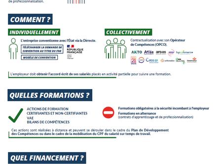 DISPOSITIF FORMATION FNE ÉLARGI : 1500€TTC par salarié en chômage partiel 📢