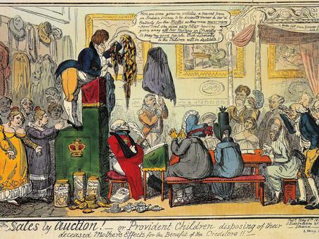 Auctioning Francis Tatton Latour's Erard harp in Finsbury, London, in 1827