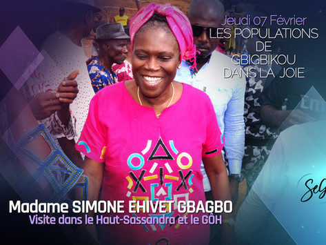 MADAME SIMONE EHIVET GBAGBO REÇUE PAR L'HONORABLE SOUKOURI BOHUI A GBIGBIKOU, SON VILLAGE.