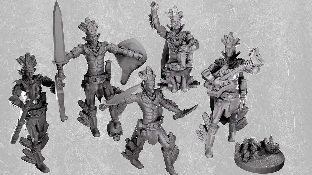 Aztec warriors / clerics resin miniatures from Mystic Pigeon Gaming